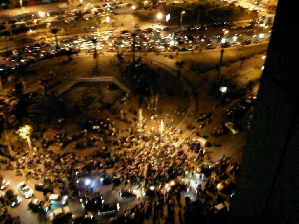 Protestors celebrate the end of President Mubarak in Cairo's Tahrir Square in a defining moment of the Arab Spring