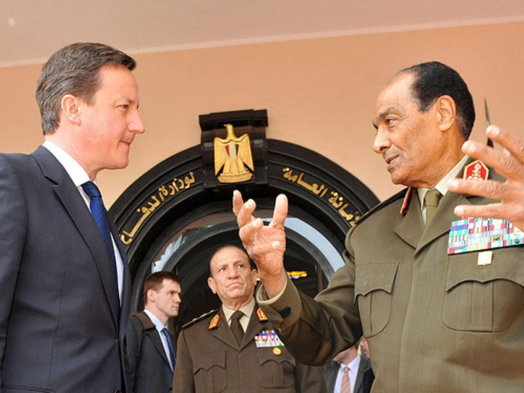 David Cameron with Egypt's new leader, Field Marshall Mohammed Tantawi