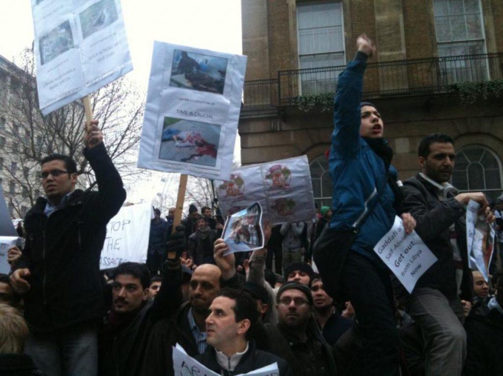 Libya demonstrators outside Downing Street make their views known