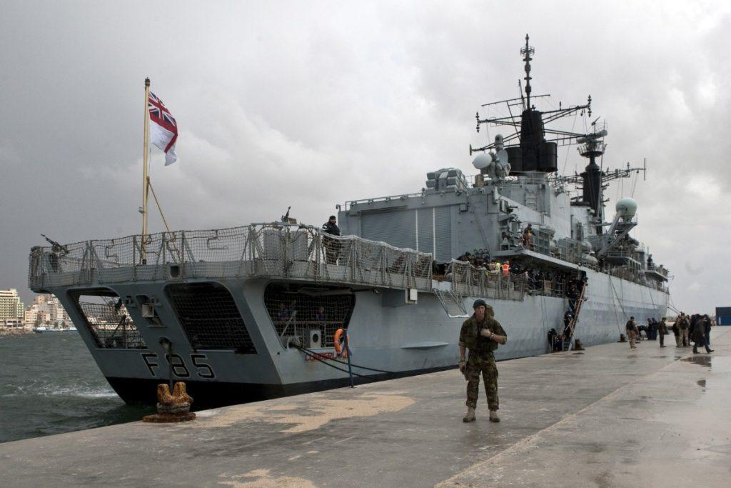 HMS Cumberland docks in Benghazi, Libya
