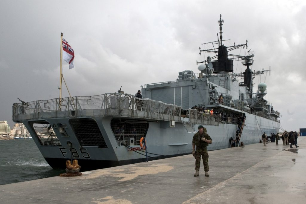HMS Cumberland in Libya. Arms embargoes apply to both sides of the conflict.