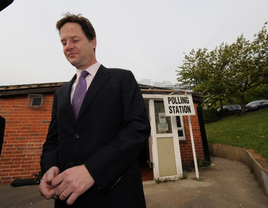 Nick Clegg outside of his polling station in Sheffield after voting in the local elections and AV referendum