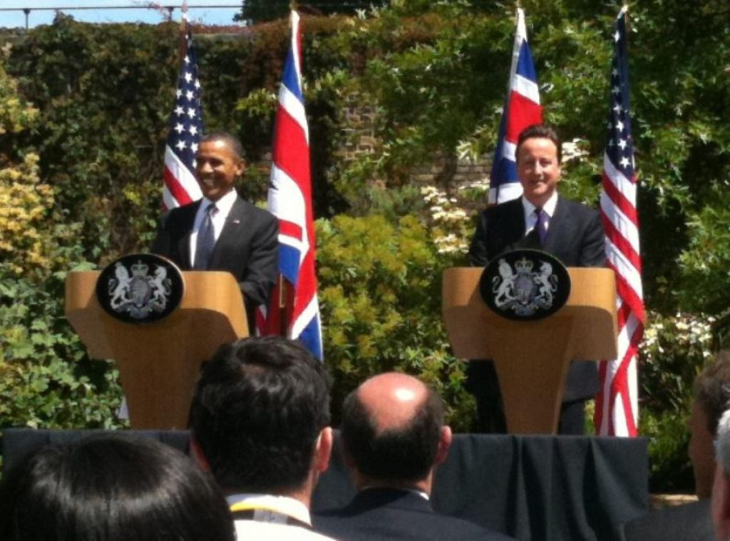 Cameron and Obama held a joint press conference in Lancaster House