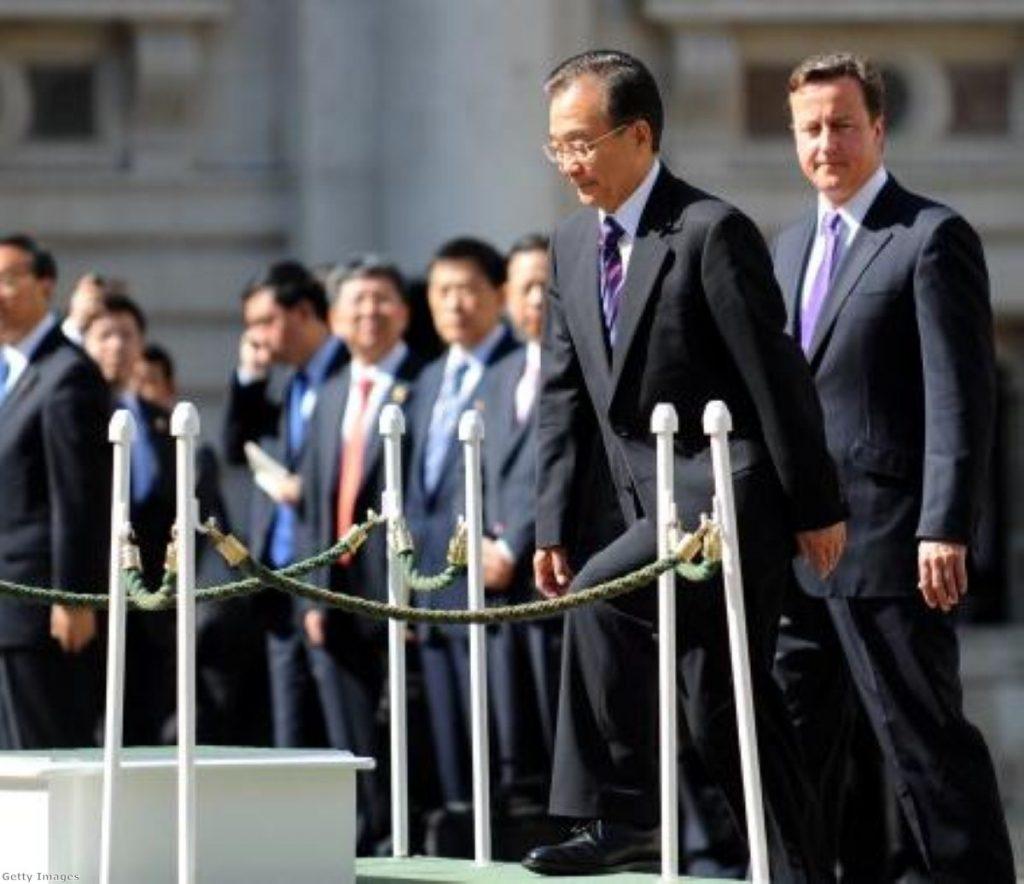 Chinese premier Wen Jiabao with David Cameron