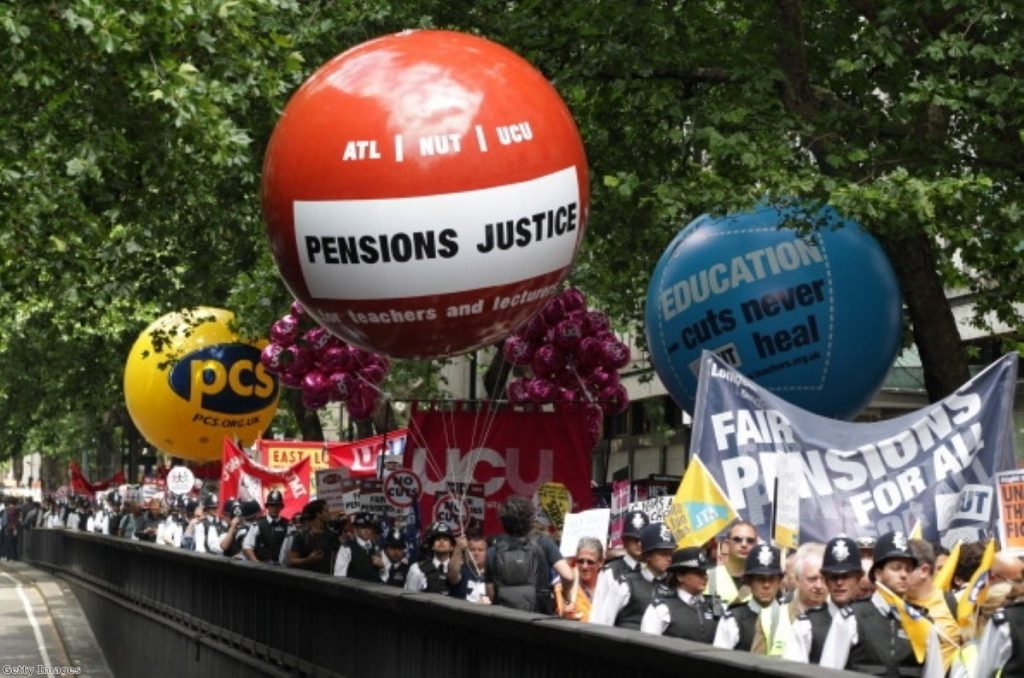 Demonstrators speak out as they march in Westminster. Photo: Getty Images