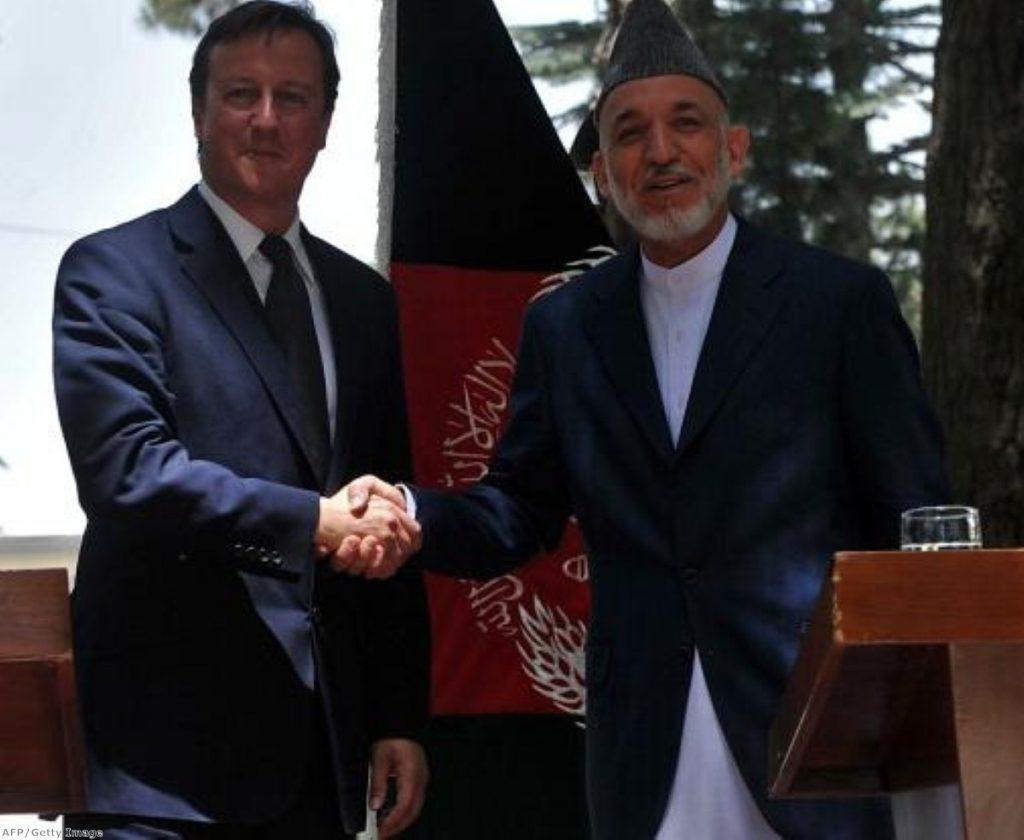 David Cameron and Afghan president Hamid Karzai in Kabul yesterday.