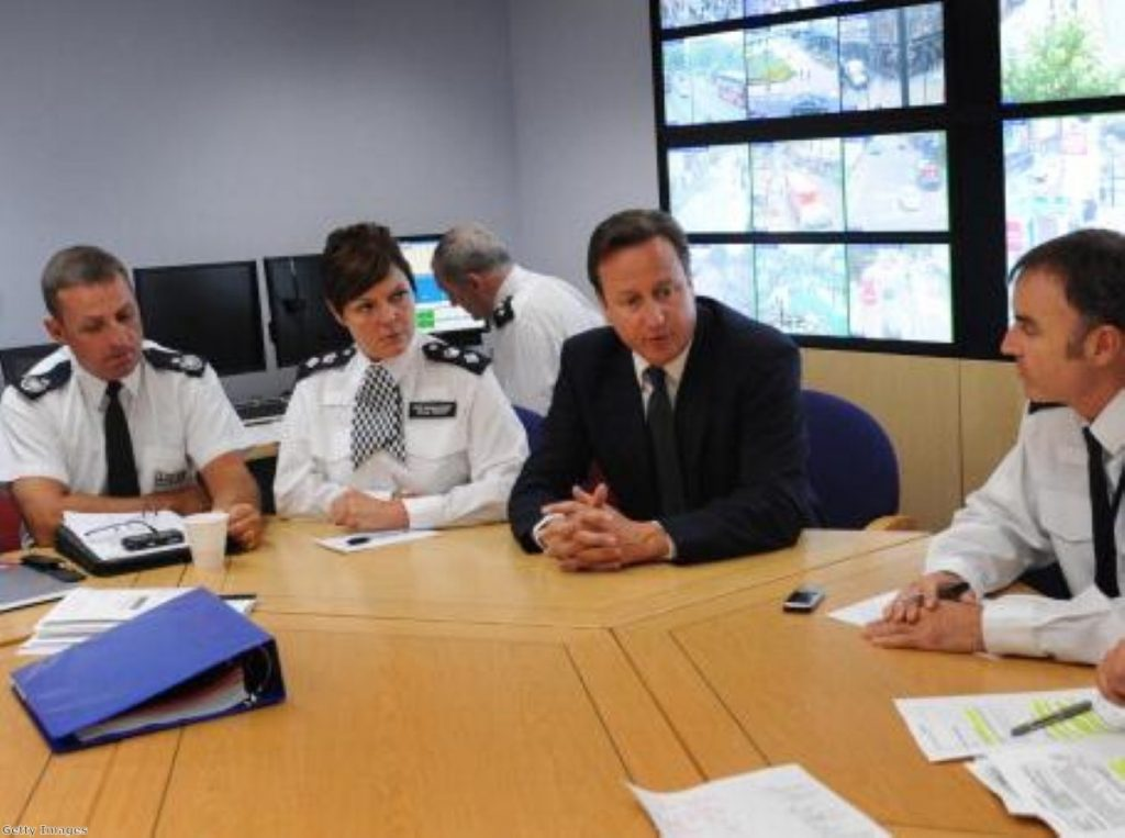David Cameron meets with senior police officers in Lambeth, south London