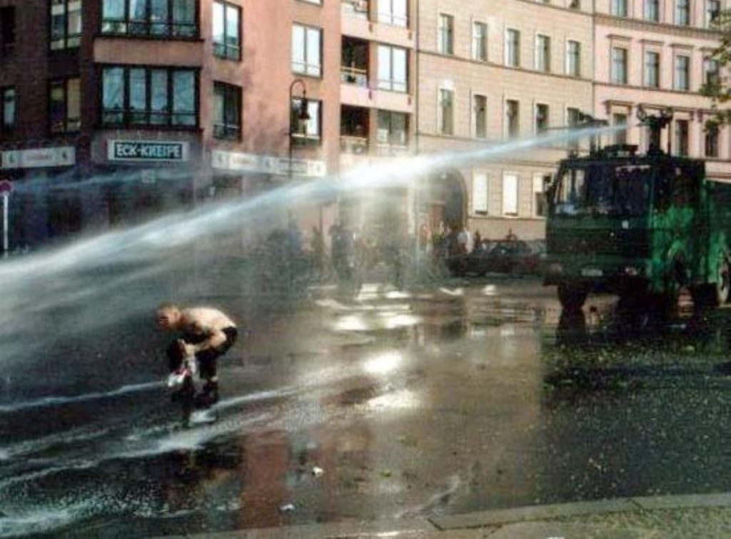 A German water cannon in use at a demonstration in 2001