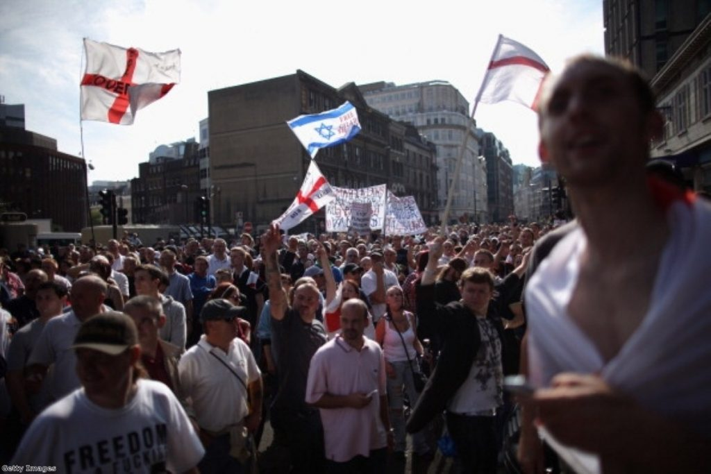 The far-right English Defence League, marching through Tower Hamlets last year.