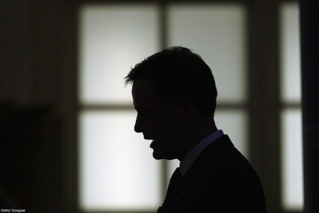 Dark days: Clegg faces the crisis.