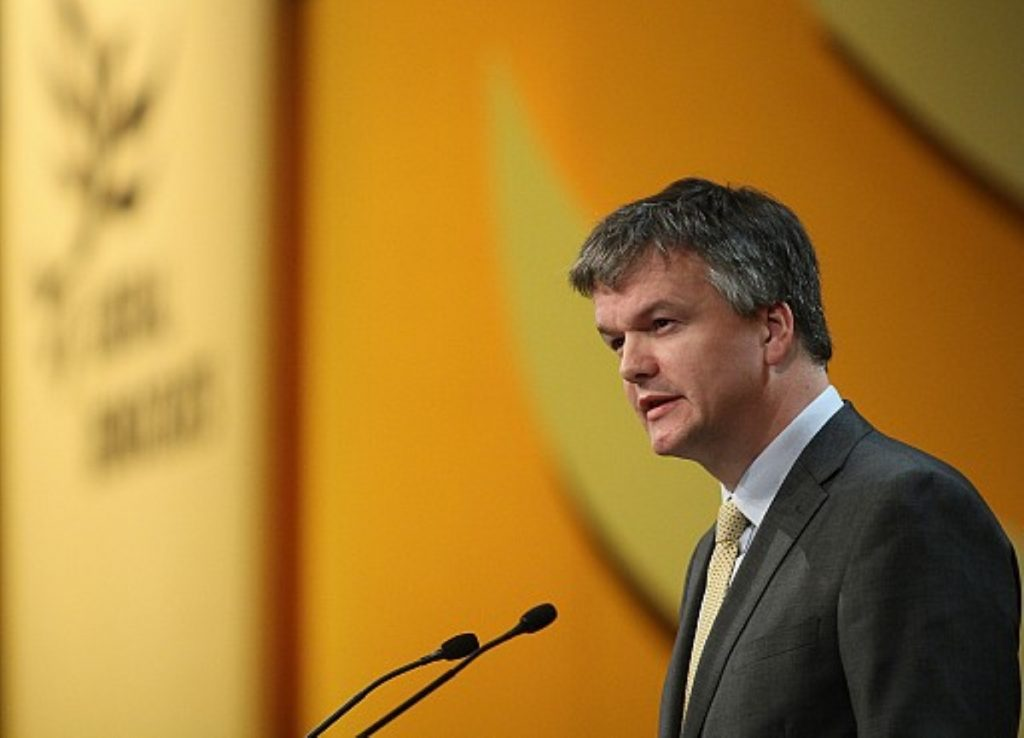 Michael Moore addresses the Liberal Democrat party conference in Birmingham