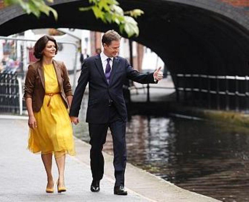 Nick Clegg with his wife, Miriam Gonzalez Durantez
