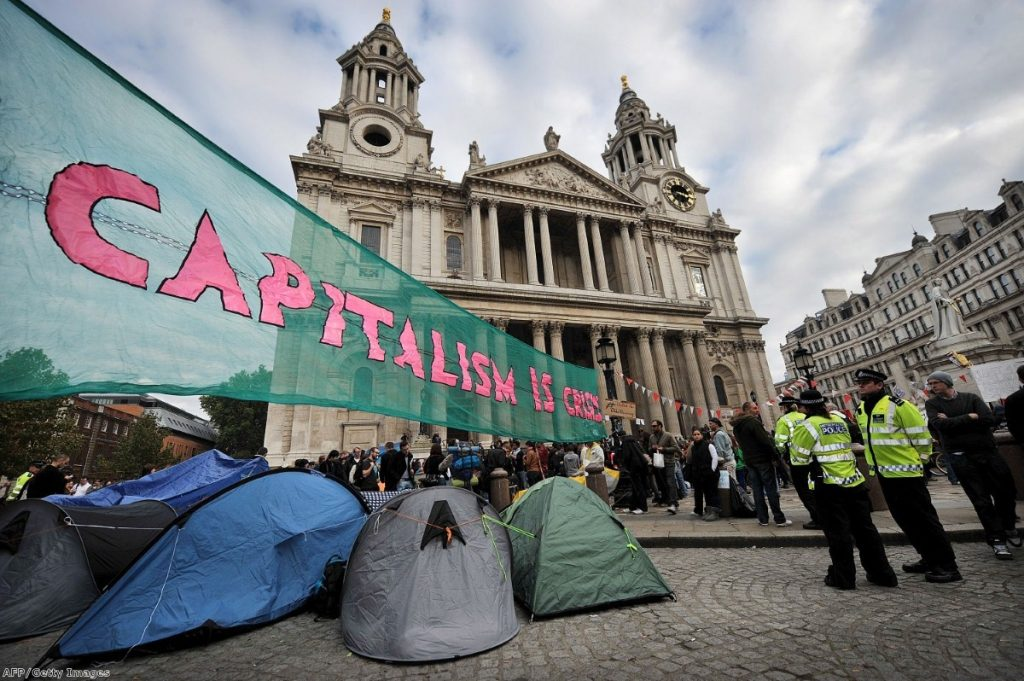 Protesters outside St Paul's have prompted a political crisis inside the cathedral