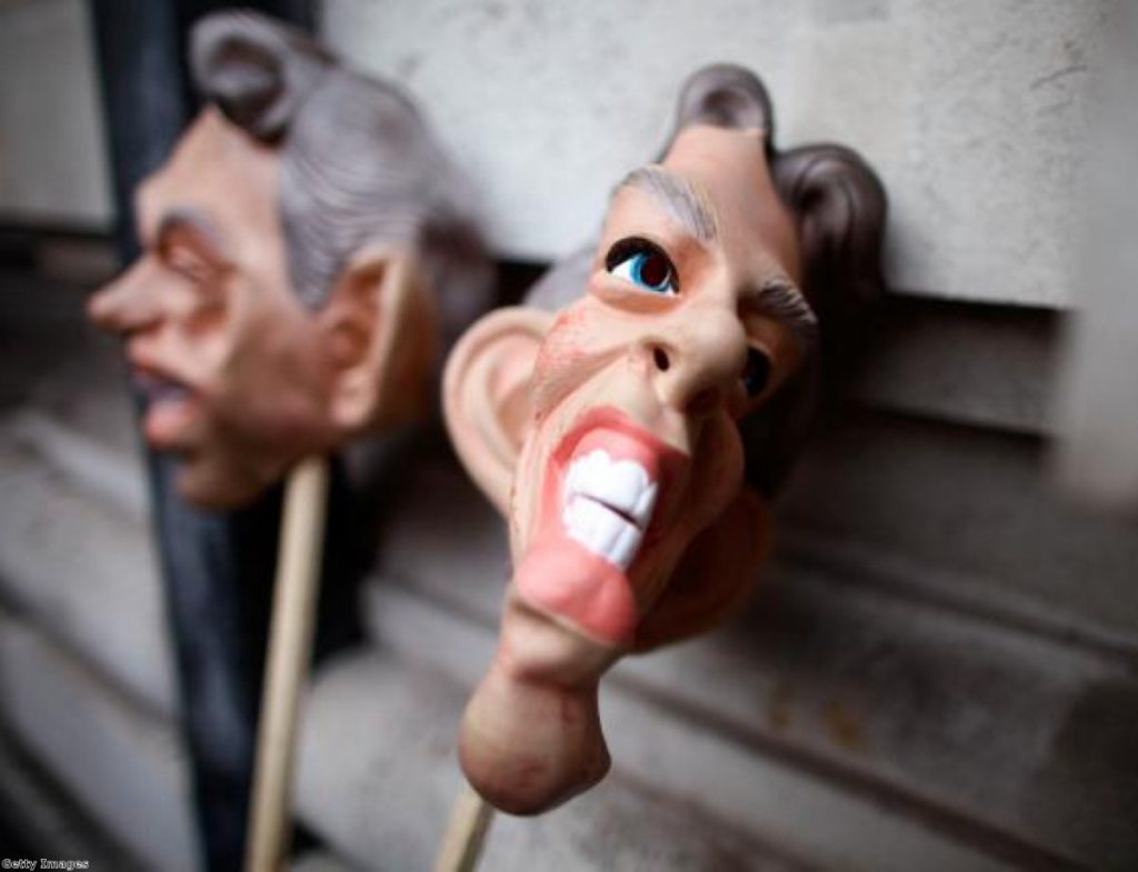 Blair masks outside the Iraq Inquiry. Chilcot cannot even give a timetable of when it might be published.