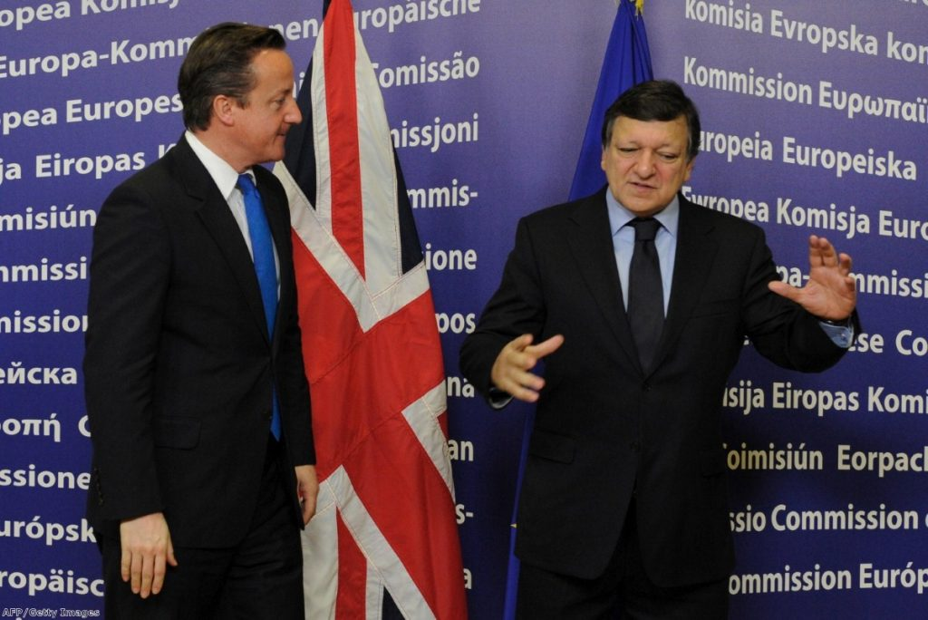 David Cameron stands next to European Commission president Jose Manuel Barroso during bilateral meeting in Brussels last year.