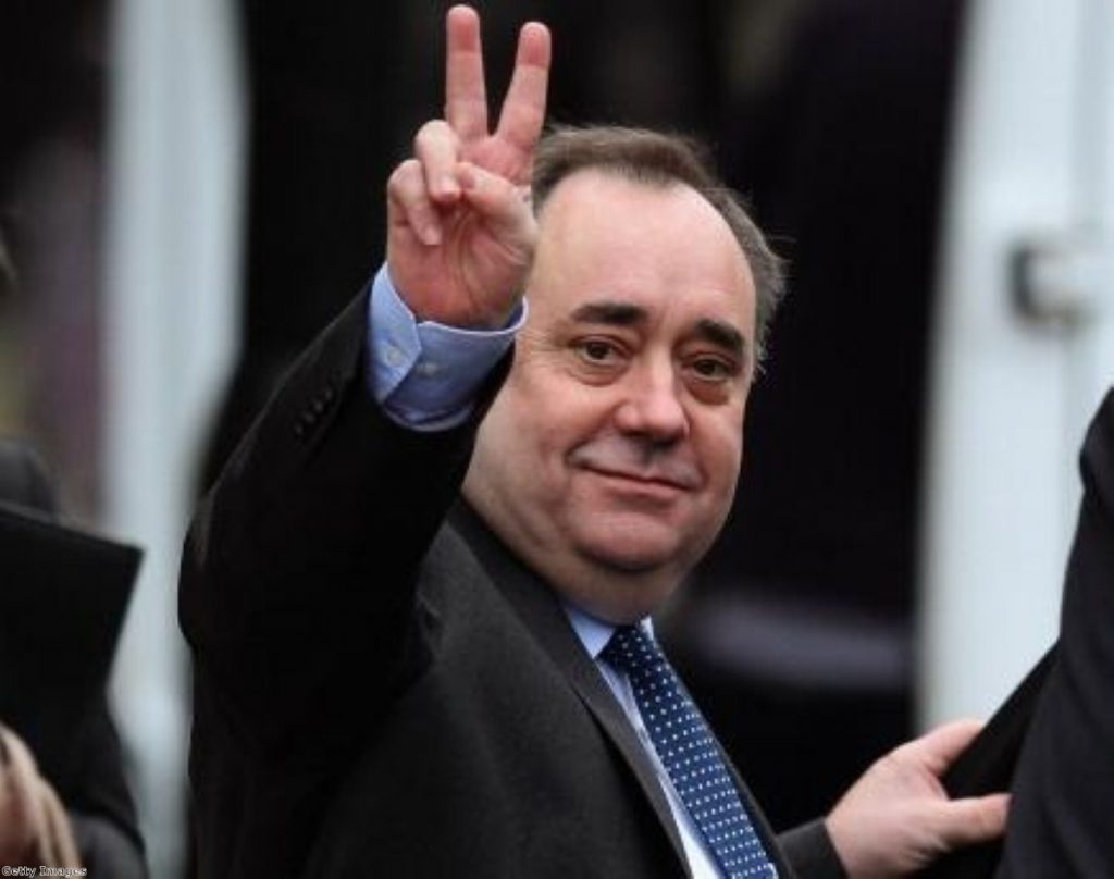 Looking to the future? Salmond imagines the aftermath of a 'no' vote.