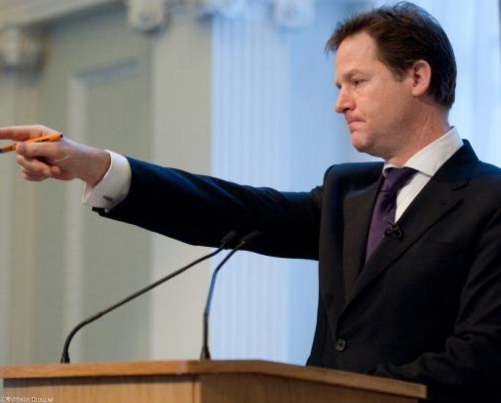 Nick Clegg answers questions after his speech to the City