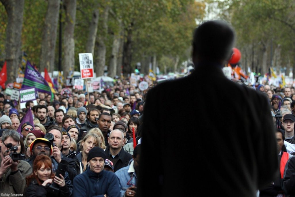 Labour mayoral candidate Ken Livingstone addresses striking public sector workers last year, as Ed Miliband did during an anti-cuts rally months earlier.