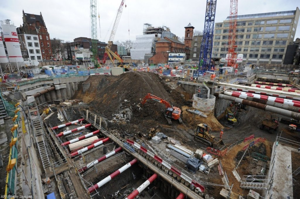 A Crossrail site in London - one of many major projects boosting the London economy
