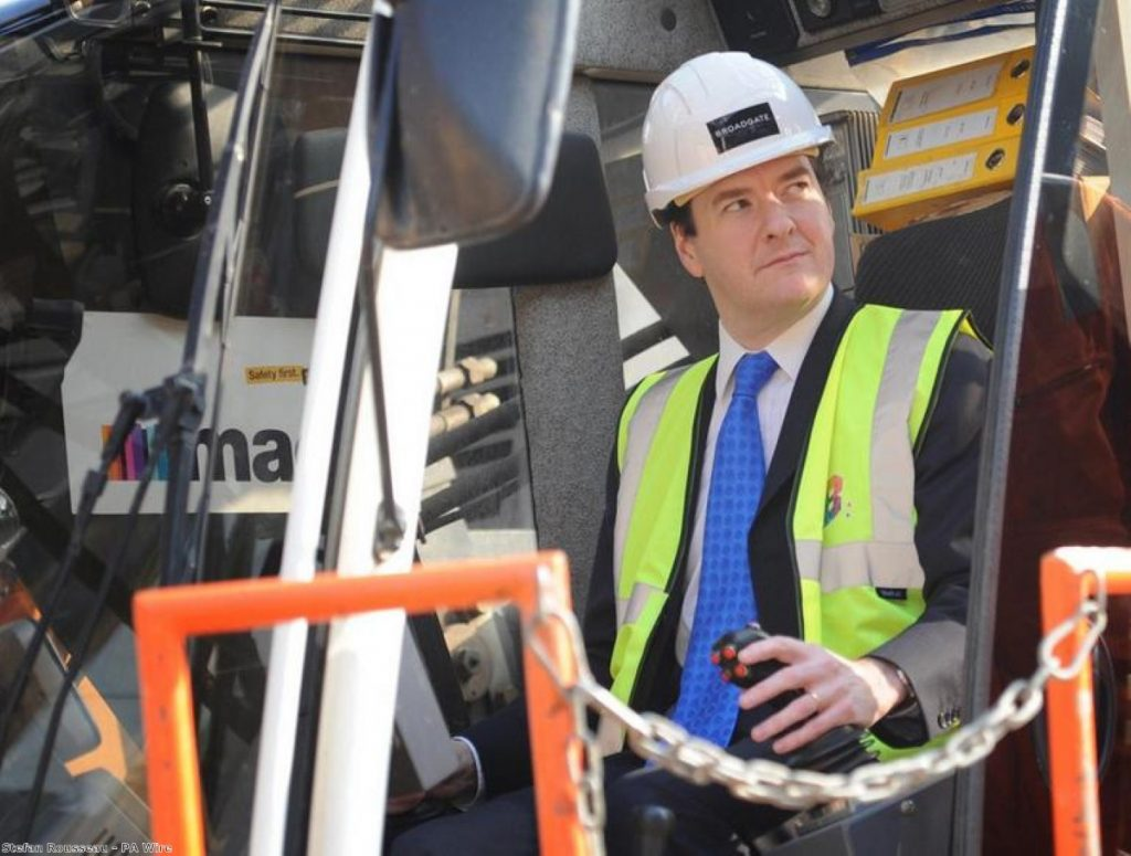 George Osborne, trying to distract you with his silly hard hat and hi-vis jacket
