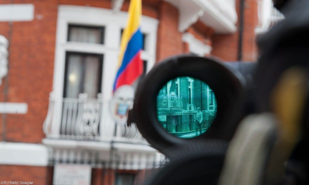 A television camera points at the main door of the Ecuadorian embassy, where WikiLeaks founder Julian Assange is staying