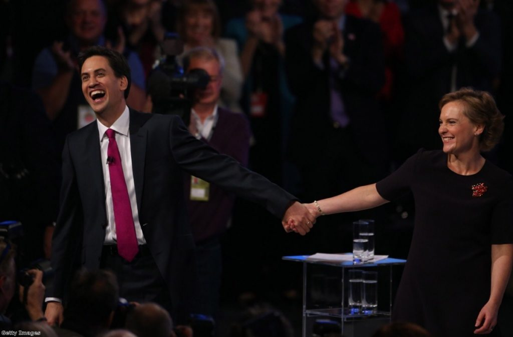 Ed Miliband with wife Justine after the speech