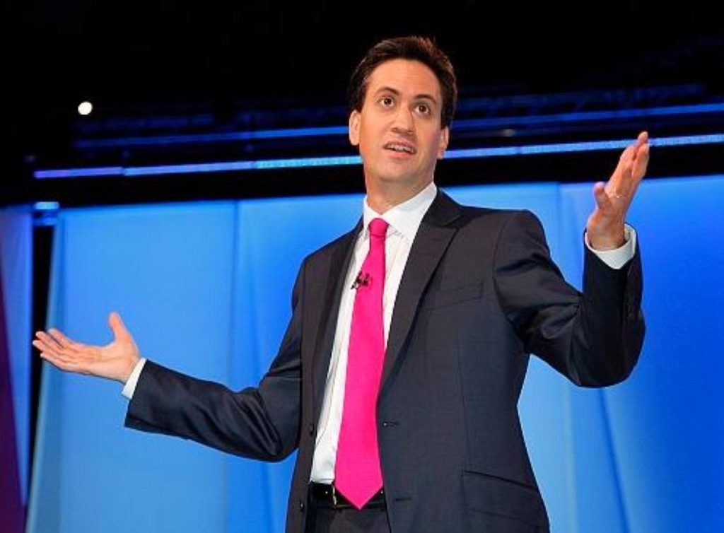 Without a lectern, Ed Miliband was free to deploy his limbs