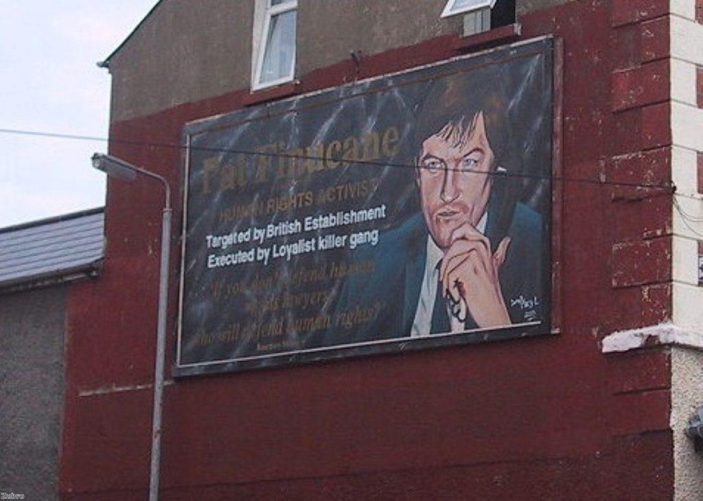 A mural in Belfast remembers Pat Finucane
