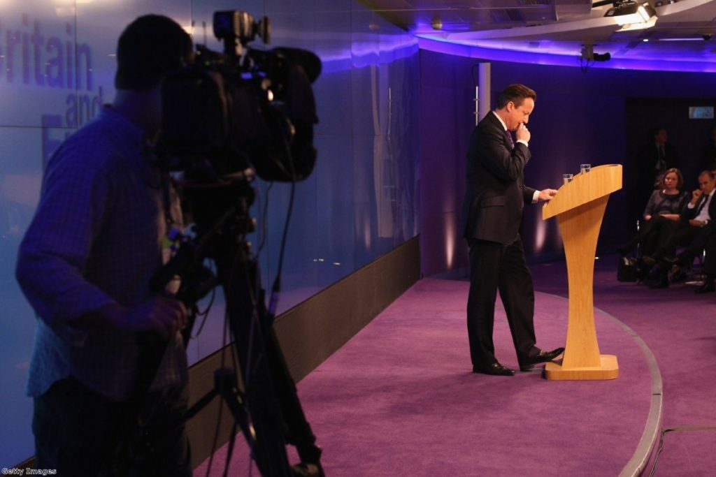 Cameron makes his speech on a European referendum, after he buckled to pressure from Ukip and his own backbenchers