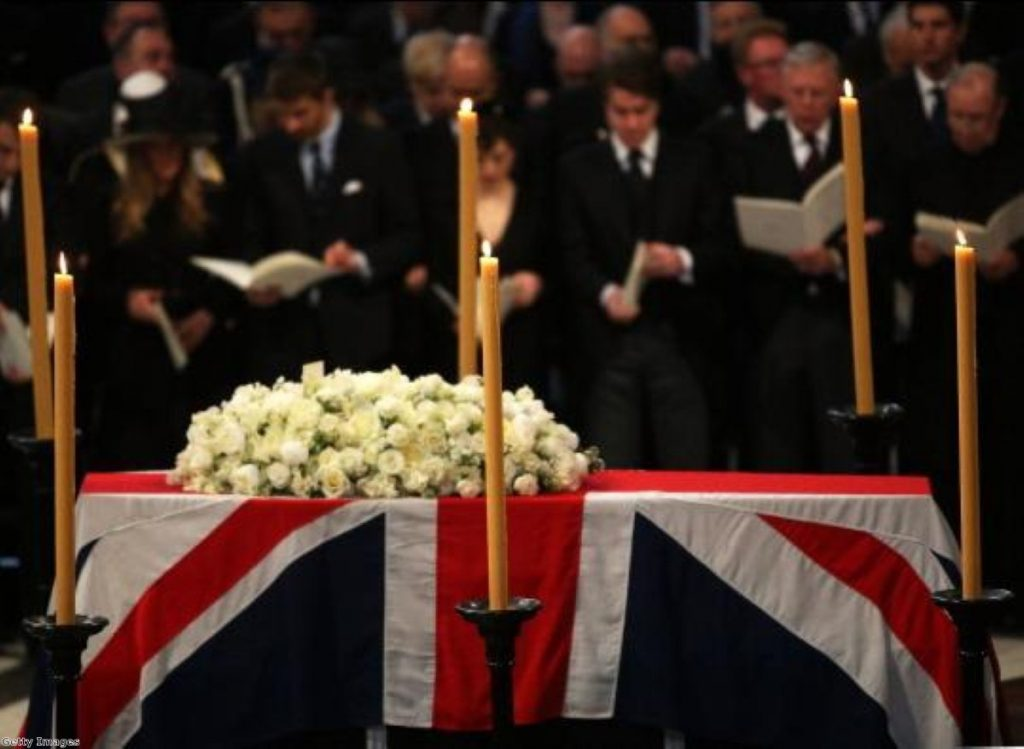 Margaret Thatcher's coffin in St Paul's