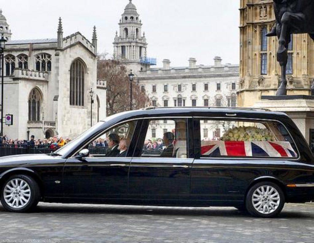 Margaret Thatcher's coffin leaves parliament