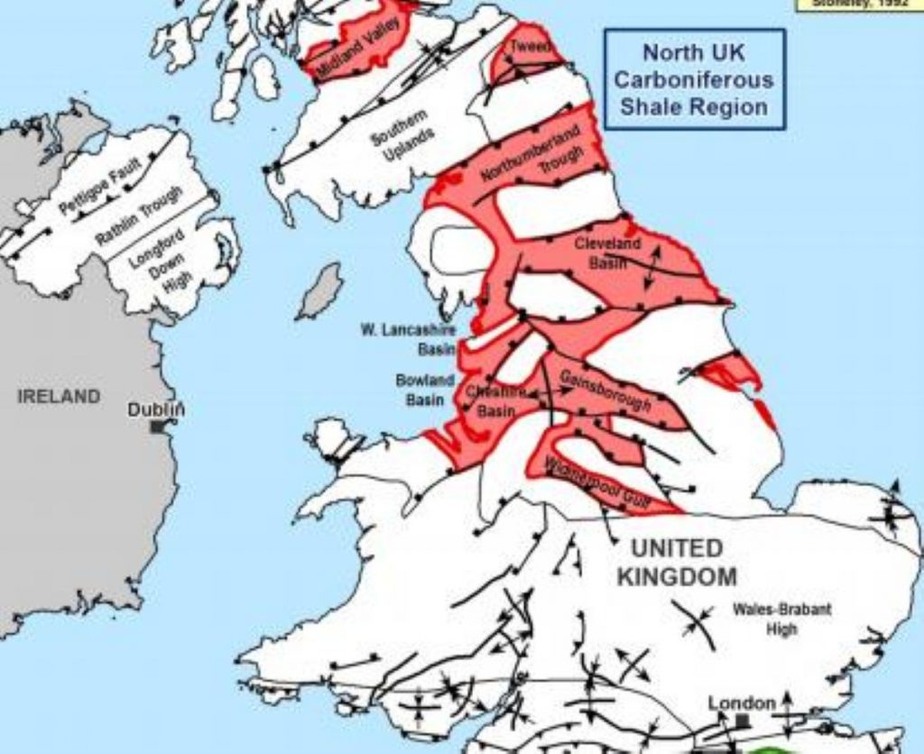 Much of Britain contains significant shale gas resources