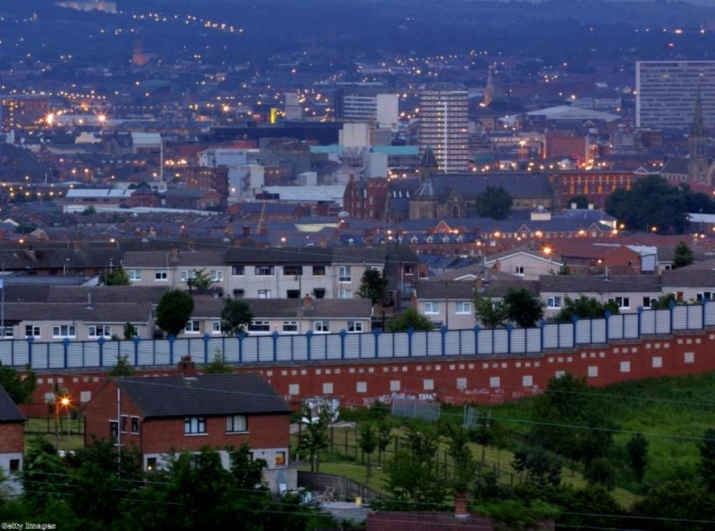 The 'Peace Wall' divides Republican and Loyalist neighborhoods in West Belfast