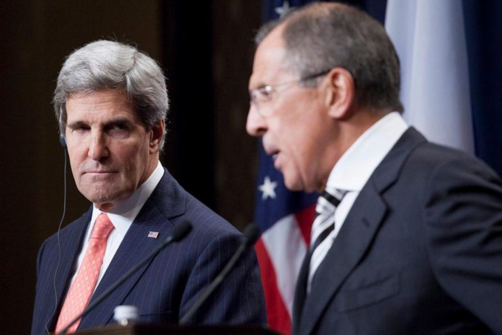 US secretary of state John Kerry listens to Russian foreign minister Sergei Lavrov