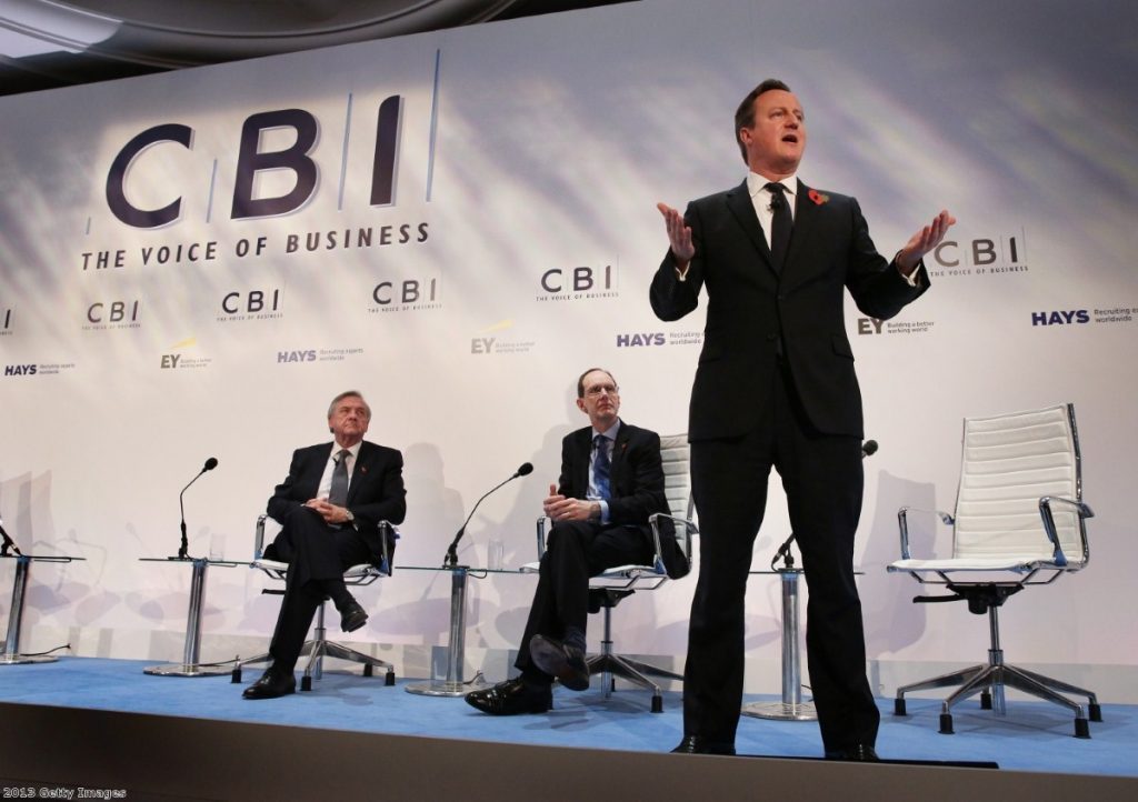 David Cameron addresses business leaders at the CBI conference
