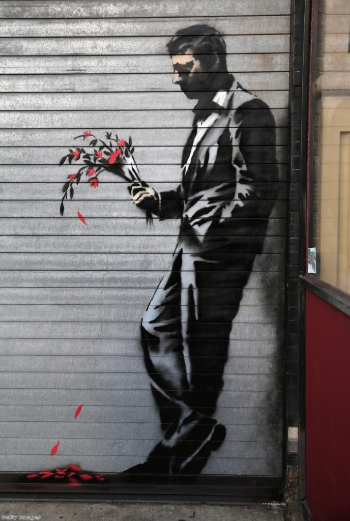 An earlier Banksy work from his month-long 'residency' in New York