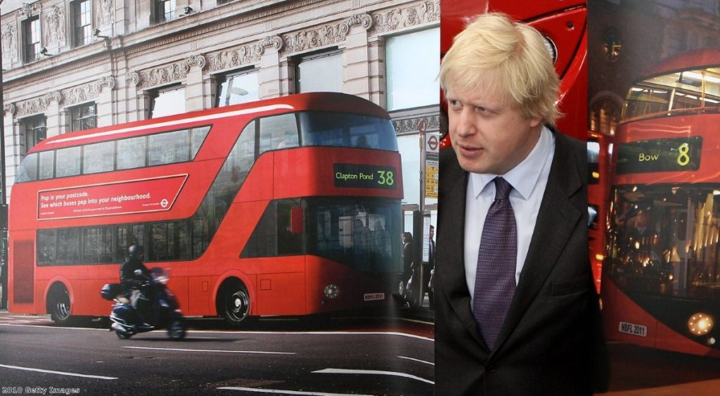 Boris Johnson unveiling designs for his new Routemaster-style bus