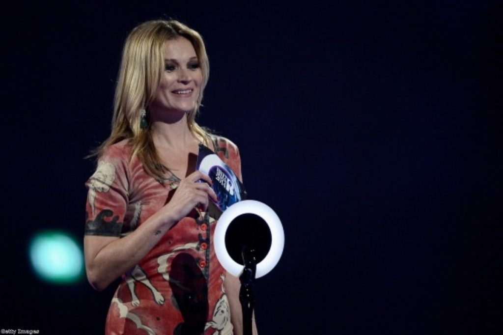 Kate Moss wears Bowie's Ziggy Stardust jumpsuit as she delivers a message from the Old White Duke himself