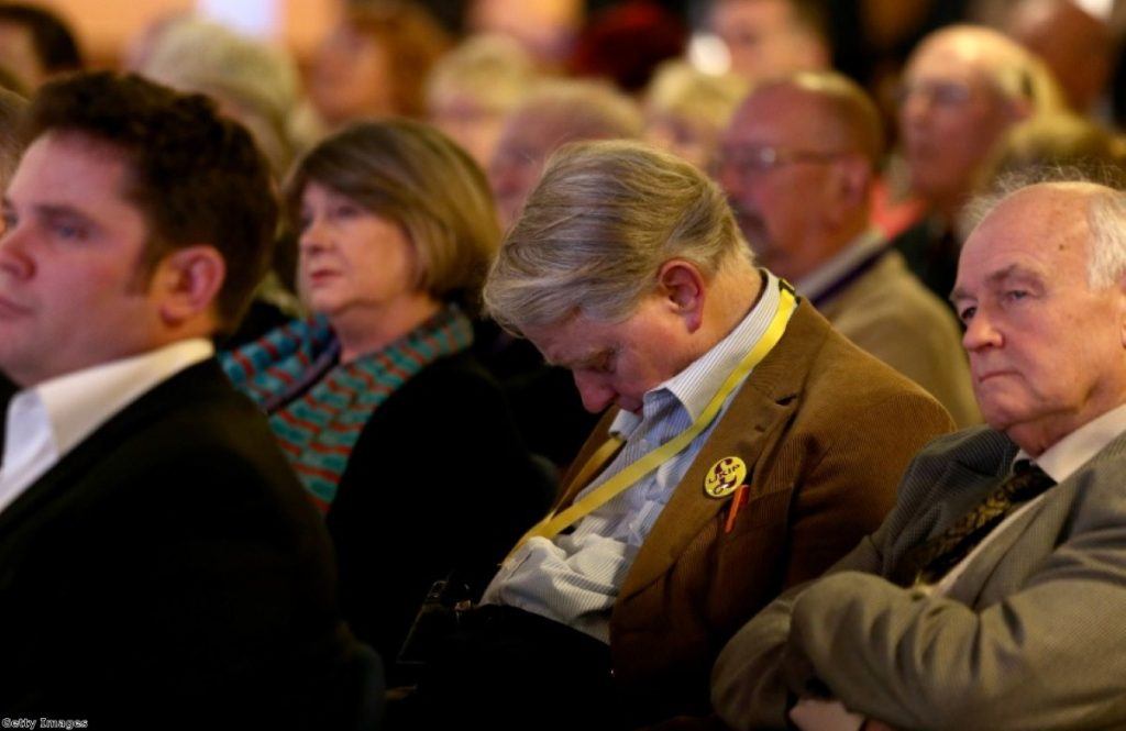 It all gets too much for this Ukip conference delegate at the party's spring gathering in Torquay