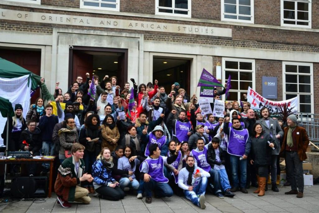 Striking cleaners and their supporters on the picket line at SOAS university