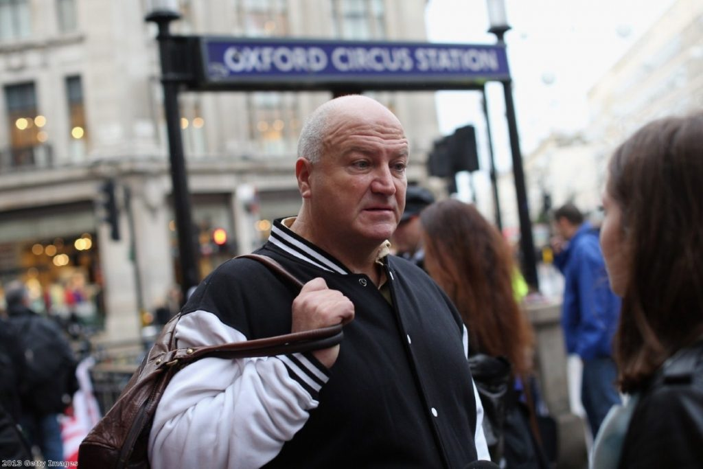 Bob Crow protests outside Oxford Circus station against plans to cut jobs and close ticket offices.