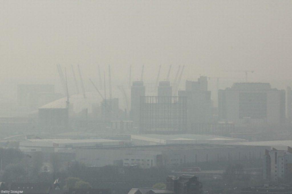 'Saharan smog' settling over London earlier this year.
