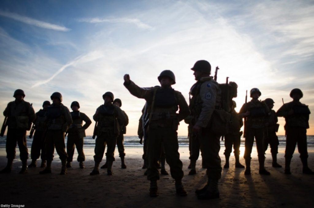 D-Day re-enactment activists on Omaha Beach