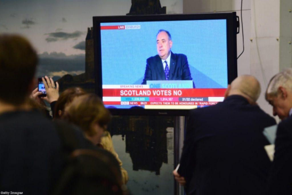 The defeated Alex Salmond blamed the Vow for his failure