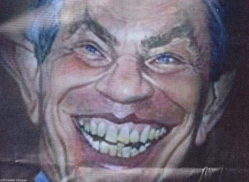 A protesters' depiction of Tony Blair outside a 2013 forum in Bangkok underlines the hostility many still feel towards the ex-PM