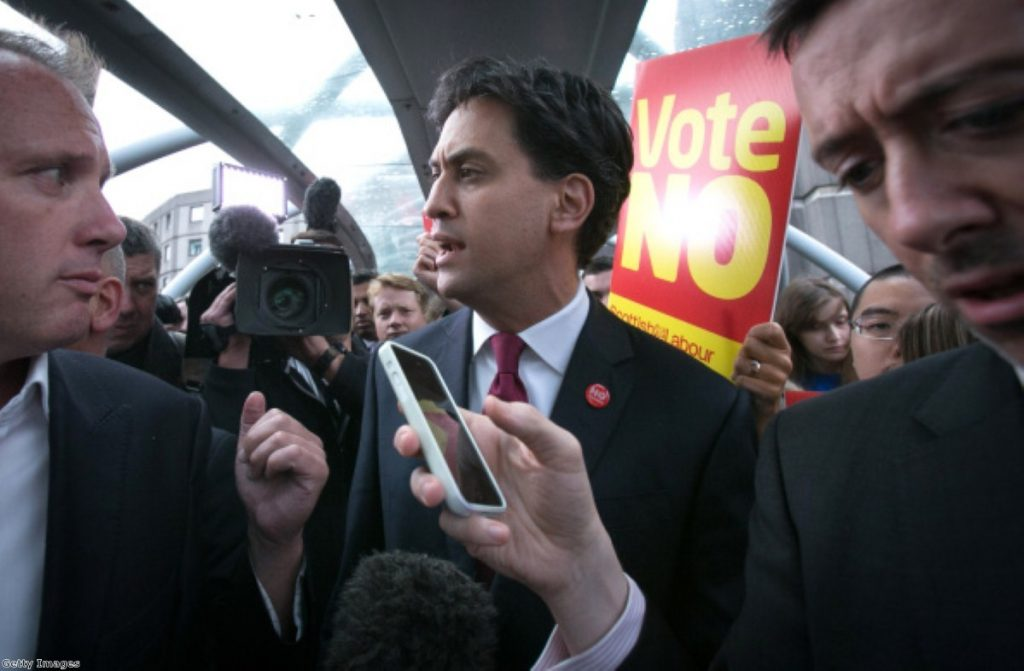 Ed Miliband on a bruising visit to Scotland during the Referendum campaign