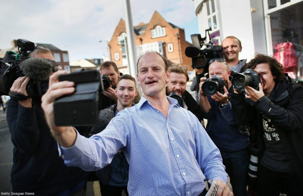 Douglas Carswell on the campaign trail in Clacton. But has Ukip's voice in the immigration debate lowered the tone?