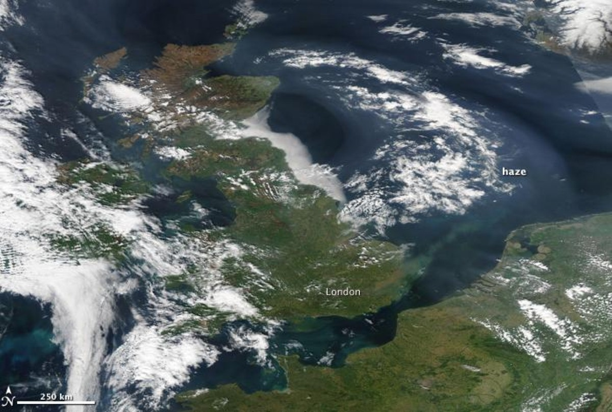 Haze covers the United Kingdom, as viewed from Nasa's Aqua satellite