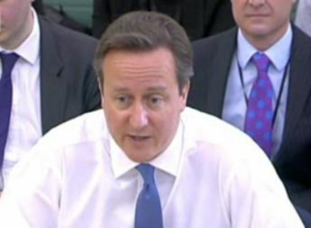 David Cameron during sometimes heated exchanges at the liaison committee