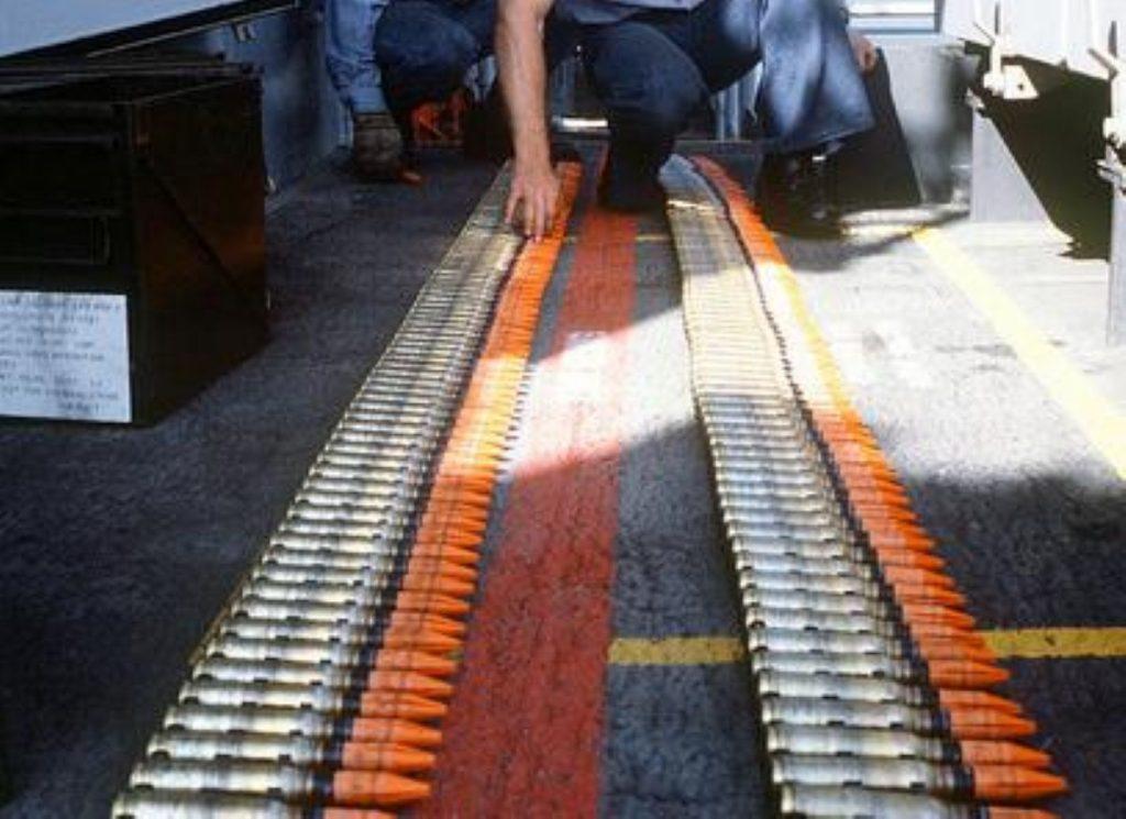Rounds of depleted uranium shells lined up on USS Missouri